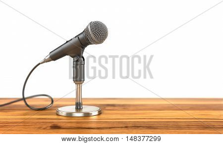 Microphone on the stand on a wood background. 3d illustration