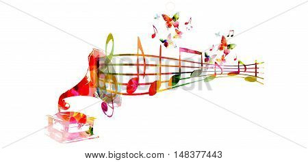 Creative music style template vector illustration, colorful gramophone with music staff and notes background. Design for poster, brochure, invitation, banner, flyer, concert, festival, music shop