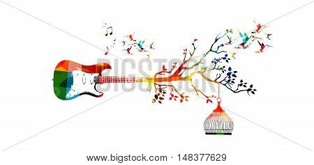 Creative music style template vector illustration, colorful guitar, nature inspired instrument background with birds. Design for poster, brochure, banner, flyer, concert, music festival, music shop
