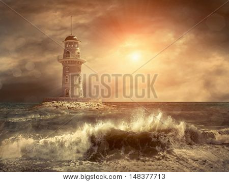 Lighthouse on the sea under sky.