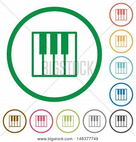 Set of Piano keyboard color round outlined flat icons on white background