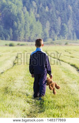 Sad childy is holding a brown teddy bear in the meadow. Back view. sadness fear frustration loneliness concept