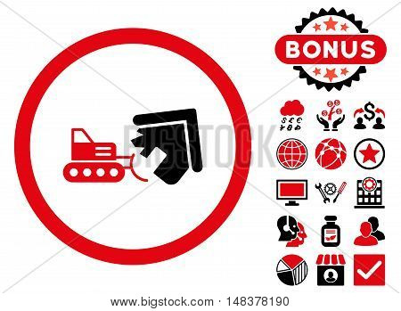 Demolition icon with bonus pictures. Vector illustration style is flat iconic bicolor symbols, intensive red and black colors, white background.