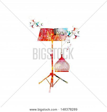 Creative music style template vector illustration, colorful music stand with music notes and birds, nature inspired background.