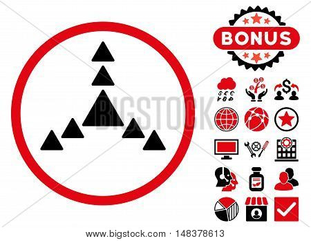 Direction Triangles icon with bonus images. Vector illustration style is flat iconic bicolor symbols, intensive red and black colors, white background.