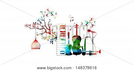 Music style template vector illustration, music instruments, piano keyboard, guitar, trumpet, microphone, saxophone and violoncello.