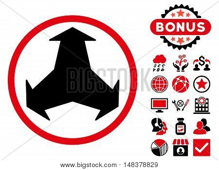 Directions icon with bonus design elements. Vector illustration style is flat iconic bicolor symbols intensive red and black colors white background.