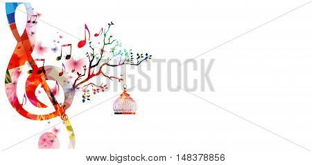 Creative music style template vector illustration, colorful G-clef with music notes background.