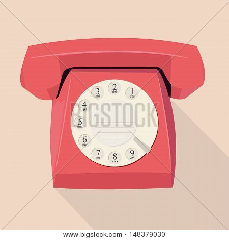 Old phone in flat design. Vector illustration.