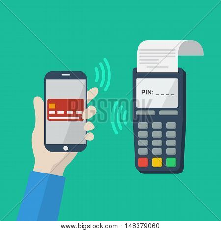 Flat icon with mobile technology, online shopping, web wallet, nfc, online banking concept. Smartphone with human hand. Vector infografhic elements for online techology concept. Mobile payment.