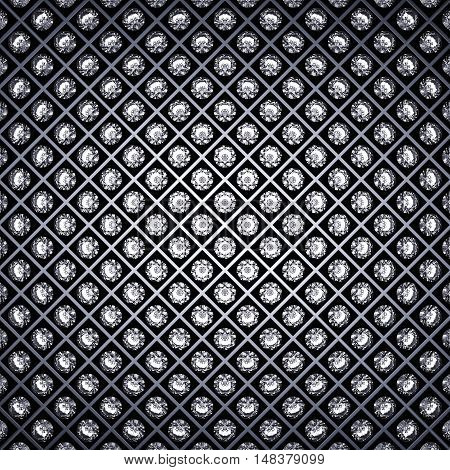 Diamonds and metal grid background , Luxury , 3d illustration