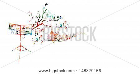 Creative music style template vector illustration, colorful music stand with music staff and notes, nature inspired background.
