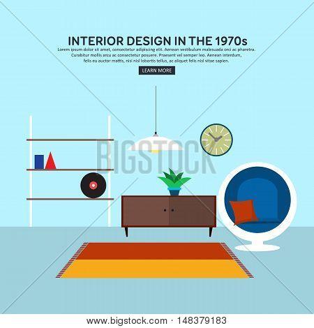 Retro interior living room with bookshelf, cabinet, design armchair, plant, retro clock, lamp, carpet. Flat design. Vector illustration.