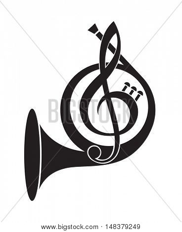 monochrome icon of  french horn and  treble clef