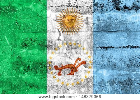 Flag Of Chaco Province, Argentina, Painted On Dirty Wall