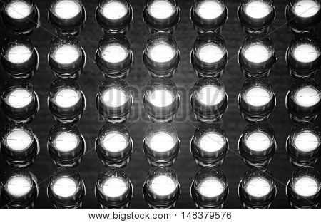 Close up of led diode panel in black and white