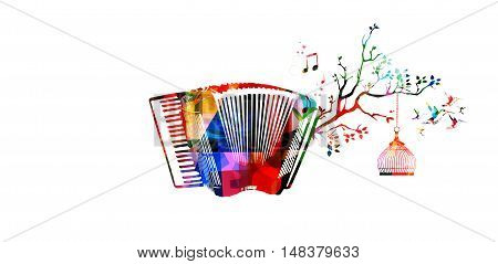 Creative music style template vector illustration, colorful accordion, nature inspired instrument background with birds.