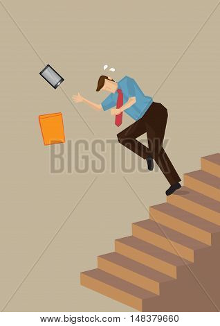 Business executive losing balance and falling down the steps on staircase. Vector illustration on work safety concept isolated on neutral color plain background.