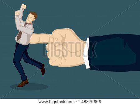 A giant hand pushing at business executive. Creative vector illustration on metaphor for giving the push at work isolated on green background.