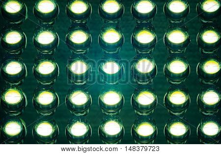 Close up of led diode panel in retro colour style