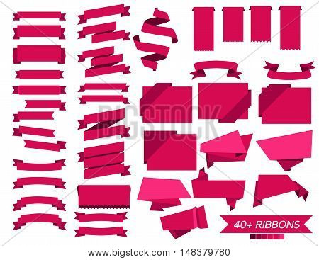 Vector Set Of 40 Pink Ribbons. Concept Ribbons Vector Illustration. Vector Flat