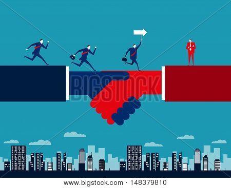 Businessmen Running On A Handshake. Concept Business Vector Illustration. Vector Flat