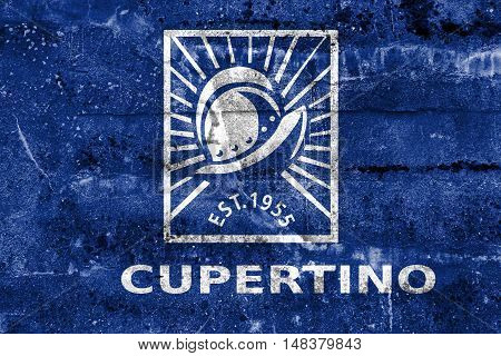 Flag Of Cupertino, California, Usa, Painted On Dirty Wall