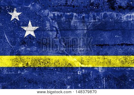 Flag Of Curacao, Painted On Dirty Wall