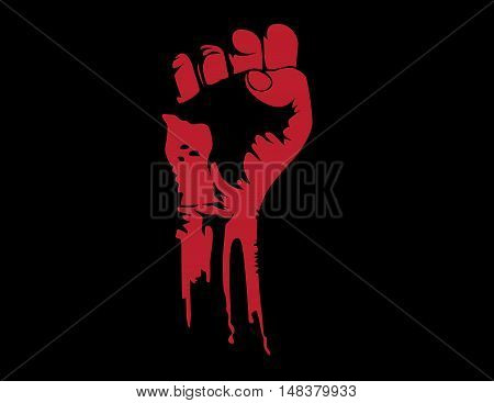 Grunge Fist Vector. Concept Revolution Vector Illustration. Vector Flat