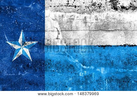 Flag Of Dallas County, Texas, Usa, Painted On Dirty Wall