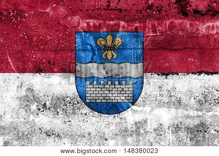 Flag Of Daugavpils, Latvia, Painted On Dirty Wall