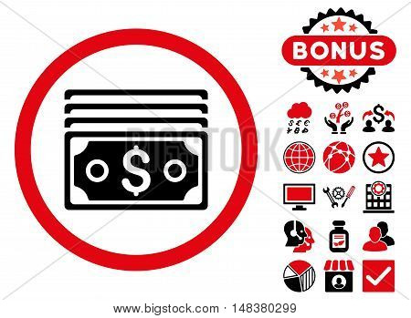 Dollar Banknotes icon with bonus pictogram. Vector illustration style is flat iconic bicolor symbols, intensive red and black colors, white background.