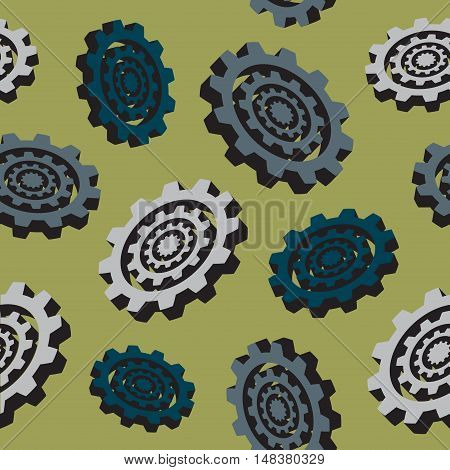 abstract colored cogwheels seamless pattern on a gold background