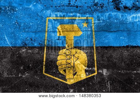 Flag Of Donetsk, Ukraine, Painted On Dirty Wall