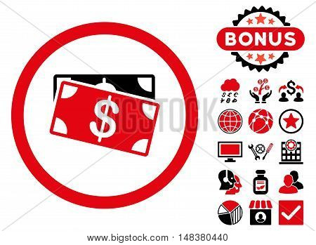 Dollar Banknotes icon with bonus pictures. Vector illustration style is flat iconic bicolor symbols, intensive red and black colors, white background.