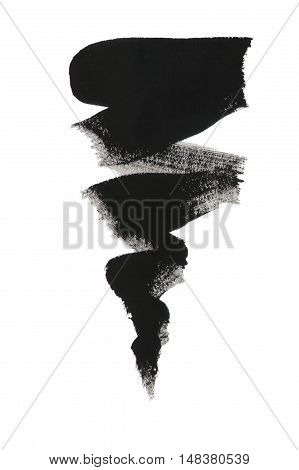 Black Gouache Design Element Isolated On White Background