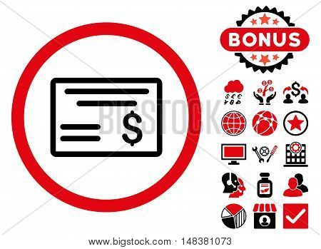 Dollar Cheque icon with bonus design elements. Vector illustration style is flat iconic bicolor symbols, intensive red and black colors, white background.