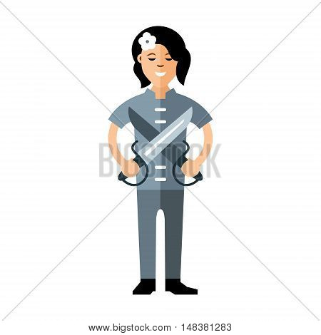 Woman with a butterfly knives. Isolated on a white background