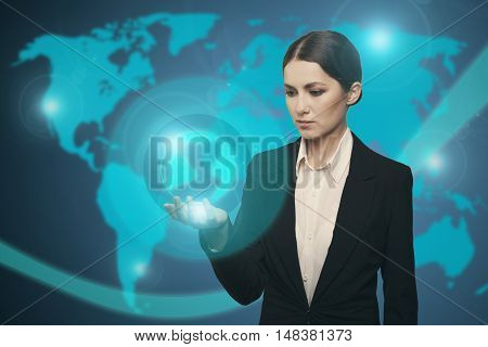 Attractive Businesswoman Touching Icon Of Media Earth