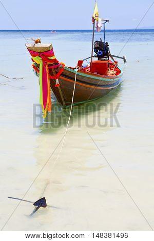 Anchor Thailand  In  Kho Tao Bay Asia Isle Blue