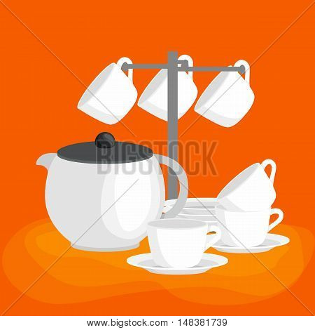 Kitchen household cutlery clean teacups and white ceramic plate stacked. White teapot, cups and saucers in a set for tea vector illustration set
