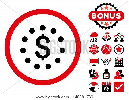Dollar Sign icon with bonus design elements. Vector illustration style is flat iconic bicolor symbols, intensive red and black colors, white background.