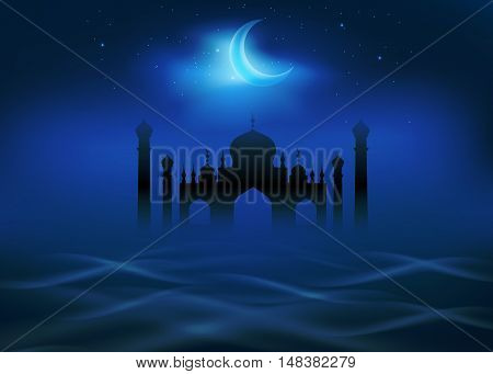 Fog and clouds around islamic mosque. Crescent moon shines in the night sky. Religion theme