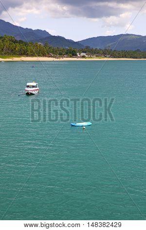 Blue Lagoon  Stone   Thailand Kho Tao Bay Abstract Yacht
