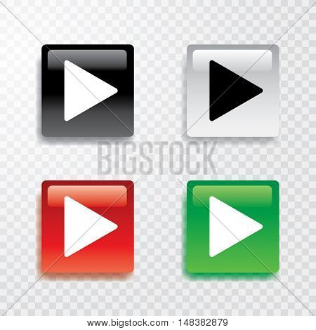 vector collection of four square play buttons with transparent shadow