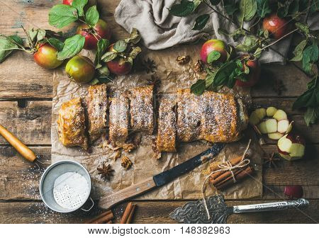 Apple strudel cake with cinnamon and sugar powder cut in slices served with star anise, nuts and fresh apples on rustic wooden background, top view, horizontal composition