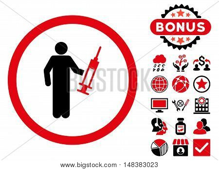Drug Dealer icon with bonus pictures. Vector illustration style is flat iconic bicolor symbols, intensive red and black colors, white background.