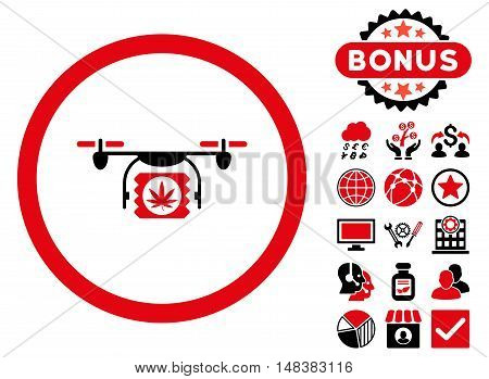 Drugs Drone Shipment icon with bonus pictogram. Vector illustration style is flat iconic bicolor symbols, intensive red and black colors, white background.