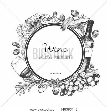 Vector hand drawn illustration of wine and apetizers. Round border composition. Grape cheese rosemary spices botte and wineglass.