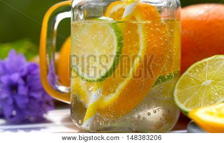 Fruit lemonade. Fruits juice on the table